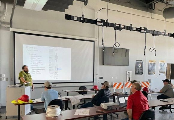 Principal Architect speaks to students in EMCC Heavy Civil Construction class